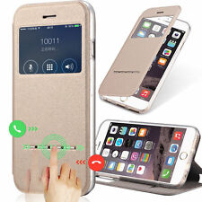 Luxury Leather Sensor Case Front View Window Flip Stand Cover For iPhone/Samsung
