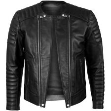 VIPARO Black Quilted Cowhide Double Zipper Biker Leather Jacket - Freeman