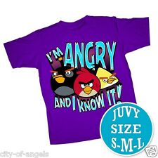 Angry Birds Kids T Shirt Purple T4 Toddlers NOT YOUTH