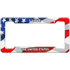 American Flag License Plate Frame I Love Country Ug-Zi