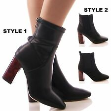 LADIES WOMENS BLACK ANKLE BOOTS TORTOISE BLOCK HEEL FASHION BLOGGER SHOES SIZE