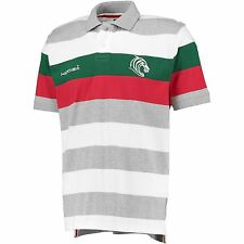 KooGa Mens Leicester Tigers Rugby Stripe Short Sleeve Polo Shirt Top Tee Grey