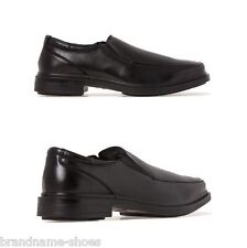 MENS HUSH PUPPIES DWYER EXTRA WIDE MEN'S BLACK LEATHER WORK SLIP ON DRESS SHOES