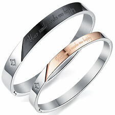 Cubic Zirconia Mens Womens Stainless Steel Couples Love Bracelet Two Tone Bangle