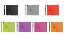 For  iPad 2,3,4 Case Slim Fit Soft Gel TPU Rubber Candy Jelly Skin Cover+Stylus
