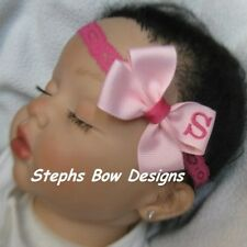 SOFT PINK SHOCK PINK A-Z  MONOGRAMMED PERSONALIZED HAIR BOW MONOGRAM HEADBAND