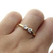 Womens Ladys Gold Plated Wedding Bowknot Finger Ring Fashion Jewelry Xmas Gift