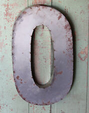"""24"""" Industrial Rustic Block Letter O Sign, Recycled Metal Letter"""