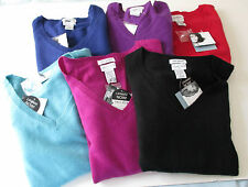 Jaclyn Smith 100% Cashmere V-Neck Sweater Sm,Med,Lg,XXL Red,Black,,Purple