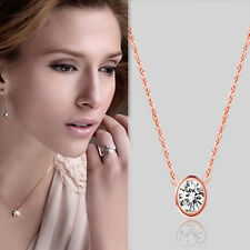 Popular 18K Rose Gold Plated Crystal Round Circle Chain Pendant Necklace Jewelry