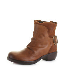 Ladies Fly London Mel Camel Leather Suede Cowboy Casual Ankle Boots Uk Size