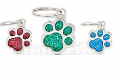 Custom Engraved Hand Made Metal Glitter Paw Dog Tag Cat Tag Pet Tag ID Name Tag