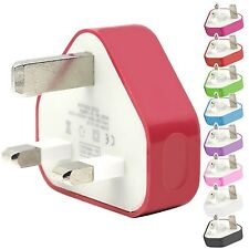 CE COLOURED USB 3 PIN UK WALL MAINS PLUG CHARGER FOR SAMSUNG GALAXY Y PRO DUOS