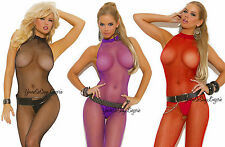 Plus Size WIDE HALTER FISHNET Bodystocking CROTCHLESS Low HIGH NECK Back Queen