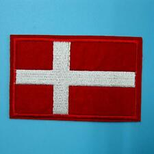 1 Denmark Natioal Flag Danish Danes Vikings Iron on Sew Patch Badge Embroidered