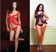 Plus Size SHEER MESH LACE RUFFLE BABYDOLL G-String RED BLACK Tie Front 2PC QUEEN