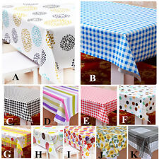 PVC Plastic Wipe Clean Floral Checkered Striped Table cloth Oilcloth Vinyl