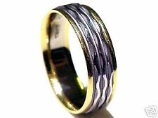 7 mm Wide, 14k Two Tone Gold, Diamond Cut, Comfort Fit, Men's Wedding Band Ring!