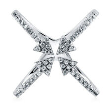 BERRICLE Sterling Silver CZ Criss Cross Arrow Fashion Right Hand Cocktail Ring