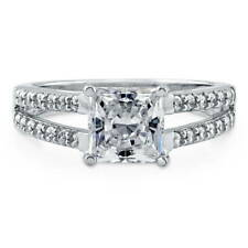Silver Princess Cubic Zirconia CZ Solitaire Engagement Split Shank Ring 2.42 CT
