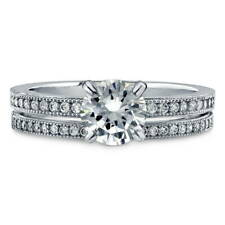 BERRICLE Sterling Silver 1.24 Carat Round CZ Solitaire Engagement Ring Set