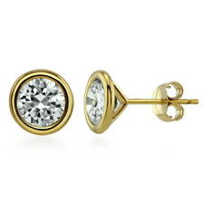 BERRICLE Gold Flashed Sterling Silver Round Cut CZ Solitaire Stud Earrings