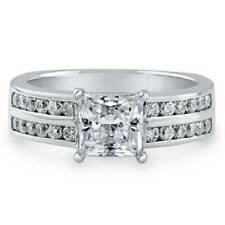 BERRICLE Sterling Silver Princess Cut CZ Solitaire Engagement Ring 2.16 Carat