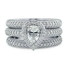 BERRICLE Sterling Silver 1.89 Carat Pear CZ Halo Engagement Stackable Ring Set