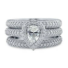 BERRICLE Sterling Silver Pear CZ Halo Engagement Stackable Ring Set 1.89 Carat