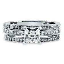 BERRICLE Sterling Silver Princess CZ Solitaire Engagement Stackable Ring Set