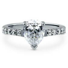 BERRICLE Sterling Silver 2.1 Carat Pear Cut CZ Solitaire Engagement Ring