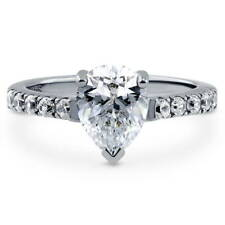BERRICLE Sterling Silver Pear Cut CZ Solitaire Engagement Ring 2.1 Carat