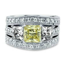 BERRICLE Silver Princess Canary Yellow CZ 3-Stone Engagement Ring Set 4.15 Carat