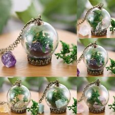 Wishing Bottle Fashion Sweater Chain Dried Flower Moss Gem Pendant Necklace Gift