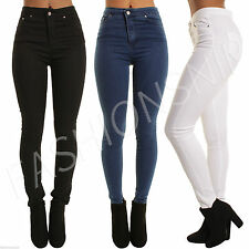 NEW Ladies Womens High Waist sexy Skinny Jeans Jeans Black Blue Sizes 6-16