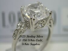 Sterling Silver & 18k White Gold, 5.94ctw White Sapphire
