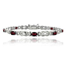 Sterling Silver 4.5ct Garnet & Diamond Accent Oval Love Knot Bracelet