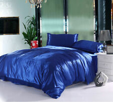Blue Soft Solid Satin Quilt Cover Set or Sheet Set/Flat/Fitted/Pillowcases