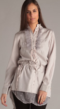 "WOMENS ENGLISH LAUNDRY ""SOPHIE"" RUFFLE BUTTON-UP TUNIC TAUPE SHIRT S-L"