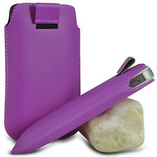 VARIOUS MOBILE PHONE PURPLE PU LEATHER PULL TAB POUCH CASE COVER HOLSTER SKIN