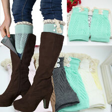 Lady Winter Leg Warmers Socks Button Crochet Knit Boot Socks Toppers Cuffs Hot