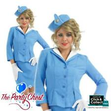 Cabin Crew BLUE Air Hostess Skirt Jacket Gloves Hat Stewardess Adult Costume 090