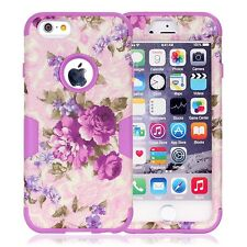 Pattern Hybrid Shockproof Silicone Rubber Case Cover For Apple iPhone 6 & Plus