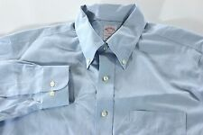Blue White Oxford Brooks Brothers L 16 1/2 2/3 Non Iron Button Up Dress Shirt