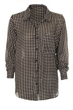 Women's Gingham Check Print Long Sleeve Shirt Ladies Baggy Check Long Blouse Top