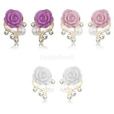 Pair Fashion Blooming Resin Rose Flower Stud Earring Crystal Faux Pearl Ear Stud
