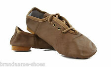 NUDE TAN LEATHER JAZZ LACE UP BOOTS GIRLS WOMENS DANCE KIDS SHOES BOOTIES