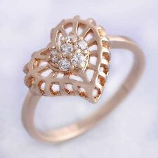 hollow heart ring size 6 7 rose Gold filled crystal ring Wedding jewelry womens
