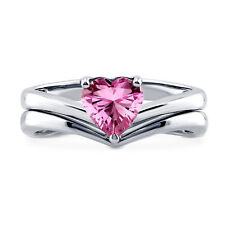 BERRICLE Silver Heart Shaped Pink CZ  Solitaire Engagement Ring Set 0.93 Carat