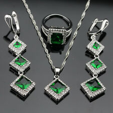 Square Green Emerald Jewelry Set Women 925 Silver Necklace Pendant Earrings Ring
